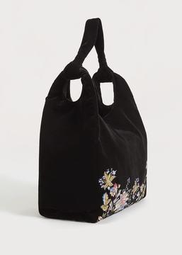 Violeta BY MANGO Floral embroidery velvet bag