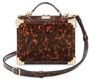 Aspinal of London Mini Trunk Clutch In Deep Shine Tortoiseshell Patent
