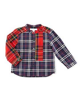 Burberry Argus Mixed-Check Mandarin-Collar Shirt, Navy, Size 6M-3Y