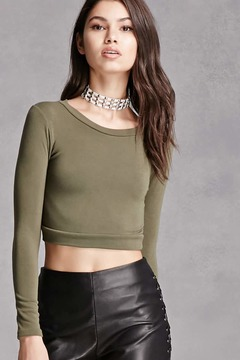 FOREVER 21 Stretch-Knit Crop Top