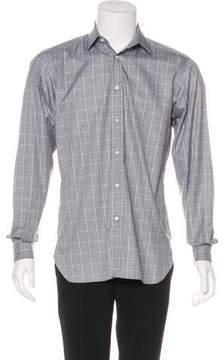 Ralph Lauren Purple Label Houndstooth Plaid Woven Shirt