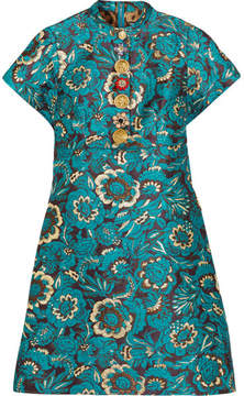 Dolce & Gabbana Embellished Metallic Jacquard Mini Dress - Blue