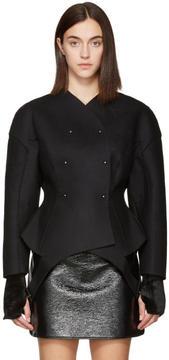 Esteban Cortazar Black Wool Round Jacket