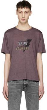 Saint Laurent Purple Thunder Logo T-Shirt