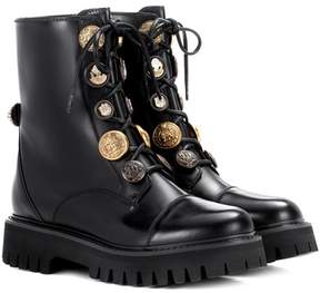 Dolce & Gabbana Embellished leather lace-up boots
