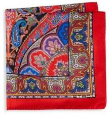 Etro Multicolor Paisley Silk Pocket Square