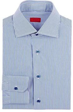 Isaia Men's Striped Poplin Shirt