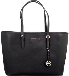 Michael Kors Women's Medium Jet Set Travel Saffiano Bag Leather Shoulder Tote - Black - BLACK - STYLE
