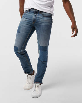Express Slim Medium Wash Patched 100% Cotton Jeans