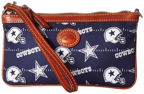 Dooney & Bourke NFL Nylon Large Slim Wristlet Wristlet Handbags - BLACK/BLACK/RAIDERS - STYLE