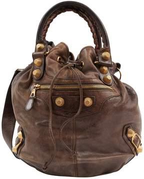 Balenciaga Pompon Brown Leather Handbag
