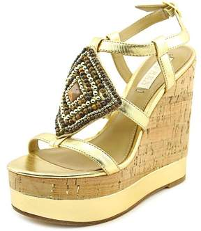 Lauren Ralph Lauren Mattie Women US 8.5 Gold Wedge Sandal