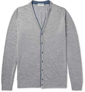 John Smedley Bedminster Contrast-Trimmed Merino Wool Cardigan