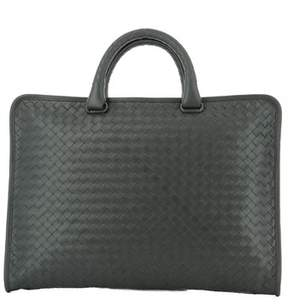 Bottega Veneta Men's Grey Leather Briefcase.