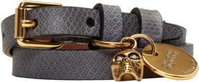 Alexander McQueen Blue and Gold Snakeskin Double Wrap Skull Bracelet