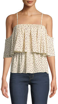 Bishop + Young Lilly Tiered Floral Cold-Shoulder Blouse