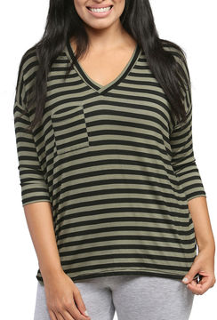 24/7 Comfort Apparel Striped Dolman T-Shirt-Womens
