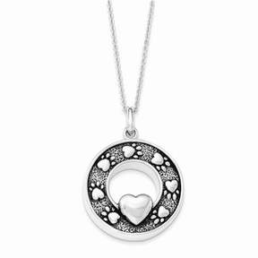 Ash Jewelrypot Sterling Silver W/ Rhodium-plated Antiqued Paw Prints Holder 18in. Necklace