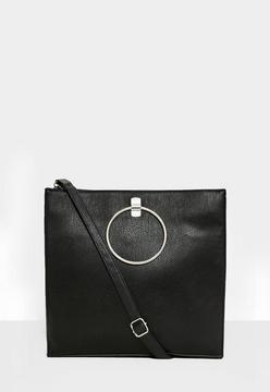 Black Circle Trim Shoulder Bag
