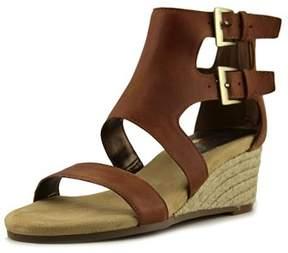 Aerosoles Cyberspace Women Open Toe Leather Brown Wedge Sandal.