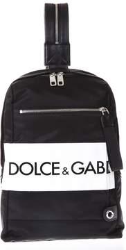 Dolce & Gabbana Black Logo Backpack In Nylon