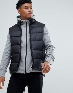 New Look Quilted Vest With Concealed Hood In Black