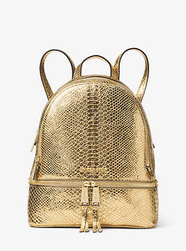 Michael Kors Rhea Metallic Embossed-Leather Backpack - GOLD - STYLE