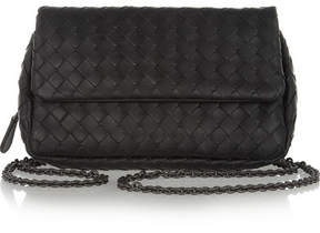 Bottega Veneta - Messenger Mini Intrecciato Leather Shoulder Bag - Black