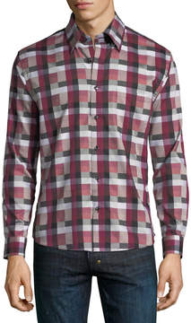 Neiman Marcus Regular-Fit Wear-It-Out Dobby Plaid Sport Shirt