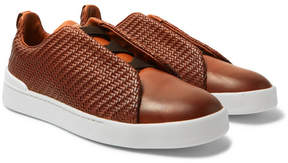 Ermenegildo Zegna Triple Stitch Pelle Tessuta Leather Slip-On Sneakers