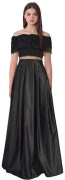 Betsy & Adam Off Shoulder Lace Mesh Inset Gown.