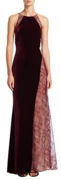 Badgley Mischka Velvet Lace Halter Gown