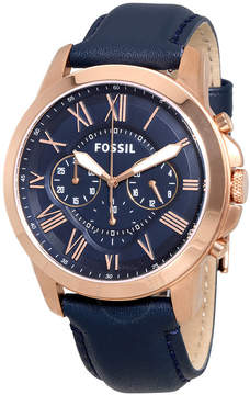 Fossil Grant Multi-Function Navy Dial Navy Leather Men's Watch