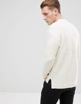 Esprit Sweater With Stepped Hem In Wool Blend