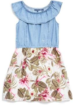 GUESS Girl's Cap-Sleeve Chambray and Floral Dress (7-16)