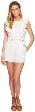 J.o.a. Eyelet Sleeveless Ruffled Romper with Flared Hem Women's Jumpsuit & Rompers One Piece