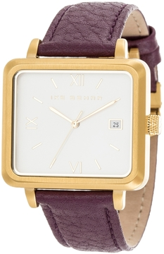 Ike Behar Men's The Square Brushed Stainless Steel Watch, 37mm
