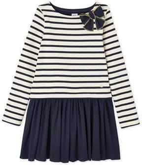 Petit Bateau Girl's striped dual fabric dress