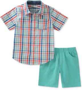 Kids Headquarters Plaid Shirt & Shorts Set, Baby Boys
