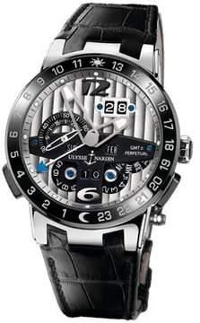 Ulysse Nardin El Toro GMT Silver Dial Platinum Black Leather Men's Watch