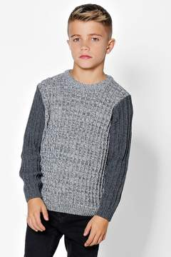 boohoo Boys Ribbed Crew Neck With Contrast Sleeves