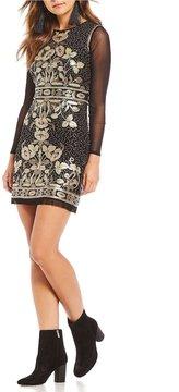 Chelsea & Violet Floral Sequin Mesh Dress