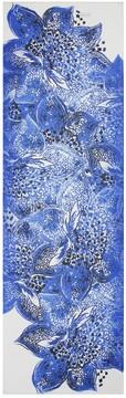 St. John Lotus Blossom Print Silk Georgette Scarf