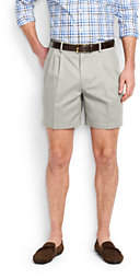 Lands' End Men's 6 Pleat Front No Iron Chino Shorts-Steeple Gray