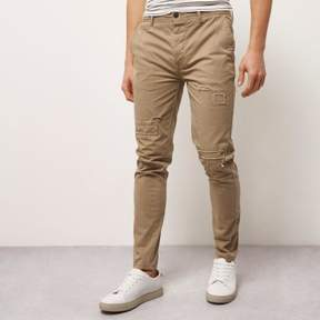 River Island Mens Brown skinny fit distressed casual pants