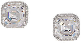 Diamonique Round or Asscher Stud Earrings,Sterling