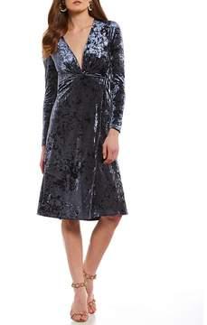 Astr Georgette Velvet V-Neck Dress