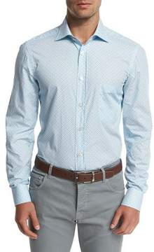 Kiton Mini Floral-Geometric Dress Shirt, Light Blue