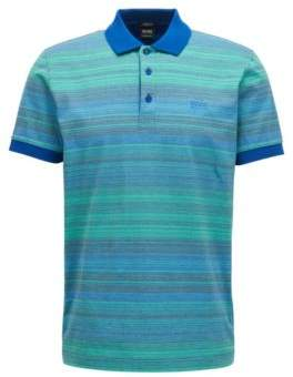 BOSS Hugo Striped Mercerized Cotton Polo Shirt, Regular Fit Paddy S Open Blue