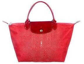 Longchamp Patent Leather-Trimmed Satchel